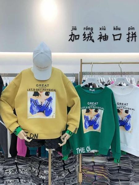 广州明浩品牌折扣女装时尚衣族加绒卫衣货源批发裙/裤品牌2020秋冬新品