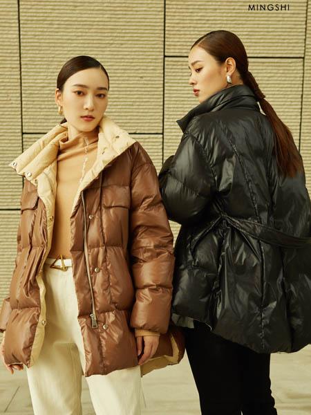 名实女装品牌2020秋冬高领收腰修身羽绒服外套