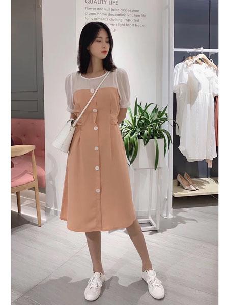 37°生活美学女装品牌2021春夏撞色温柔风开衫连衣裙