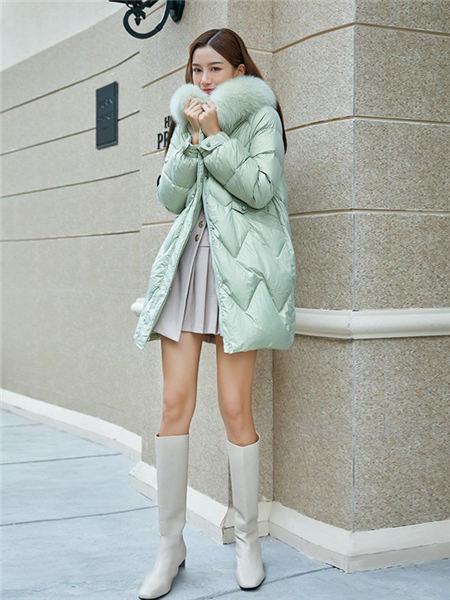 布卡慕尚女装品牌2020秋冬绿色修身穗形中长款羽绒服