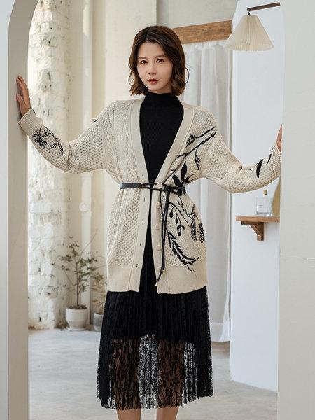 3ffusive女装品牌2020秋冬黑色中高领蕾丝拼接连衣裙