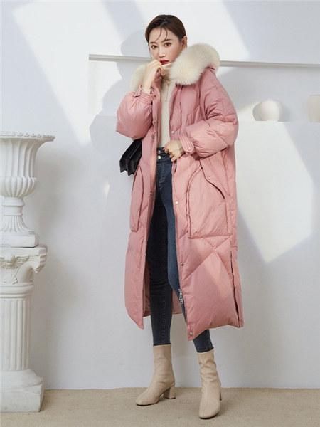 竹依依女装品牌2020秋冬粉色甜美大口袋保暖羽绒服