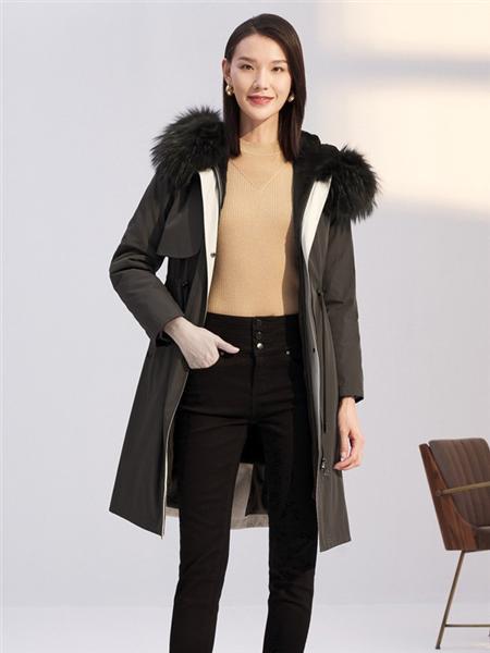 娜尔思女装品牌2020秋冬黑色时尚百搭风衣外套
