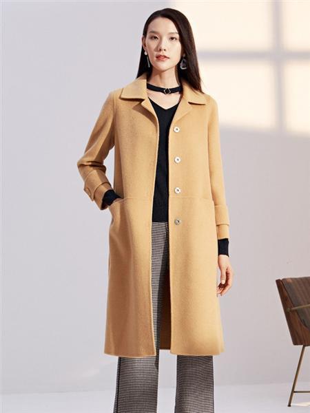 娜尔思女装品牌2020秋冬黄色直筒型长款磨毛毛呢大衣