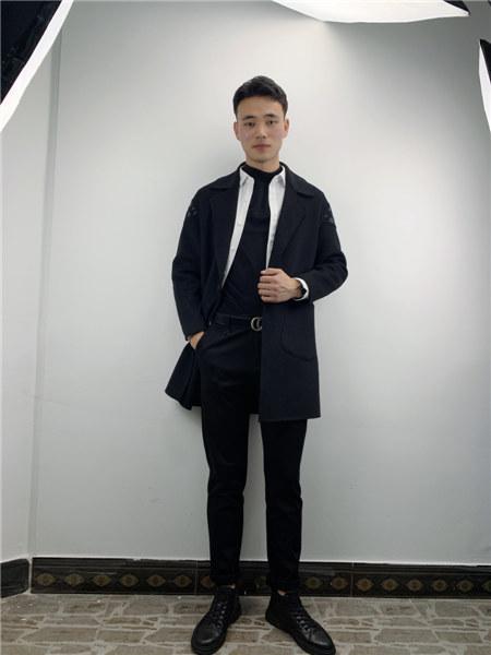 奥克男装品牌2020秋冬黑色个性总裁风西服外套