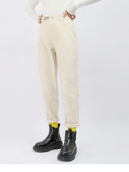 UZZU女装品牌2020秋冬白色棉麻简约卷边裤