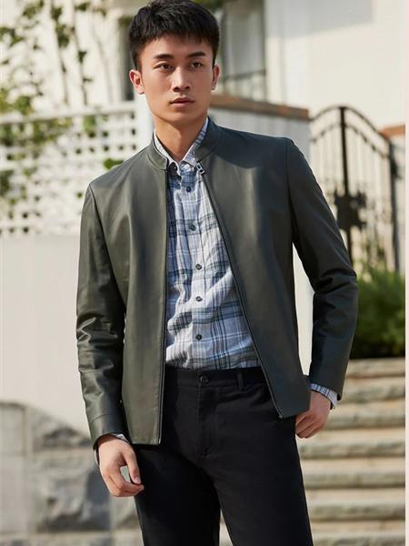 圣得西男装品牌2020秋冬灰色潮流型男短款皮夹克