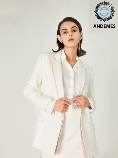 安米斯女装2020秋冬白色商务西装外套