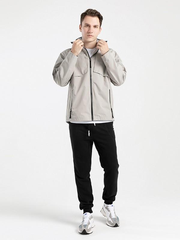 KRIPS休闲品牌2020秋冬灰色斜插袋高领外套