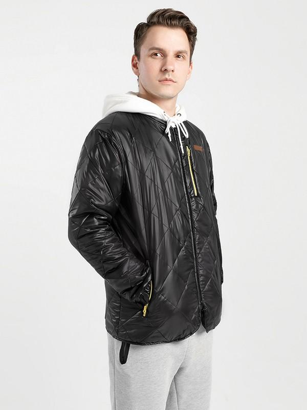 KRIPS休闲品牌2020秋冬黑色菱格压纹皮面短夹克
