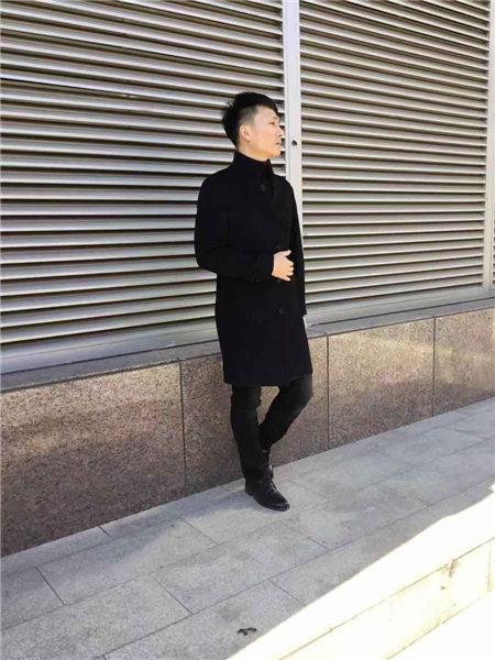 镖王男装品牌2020秋冬黑色高领气质长款外套