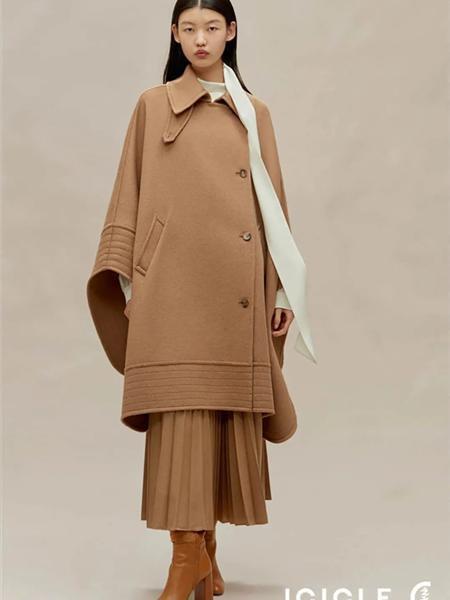 ICICLE女装品牌2020秋冬驼色改良中国风长款毛呢外套