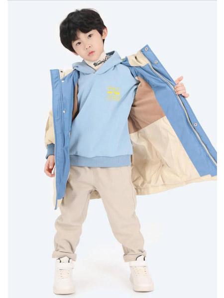 以纯童装童装品牌2020秋冬撞色拼接中长款羽绒服外套