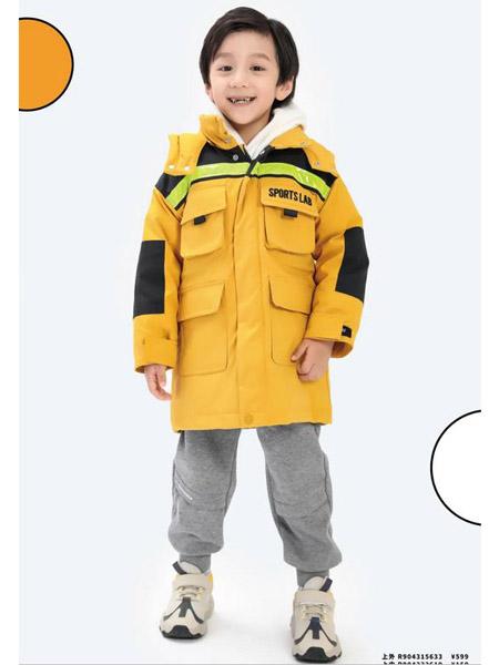 以纯童装童装品牌2020秋冬工装风多口袋宽型羽绒服