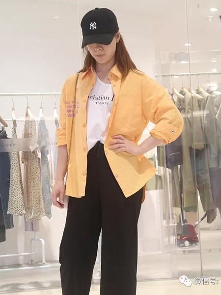 创美印象女装品牌2020秋冬黄色棉麻简约衬衫