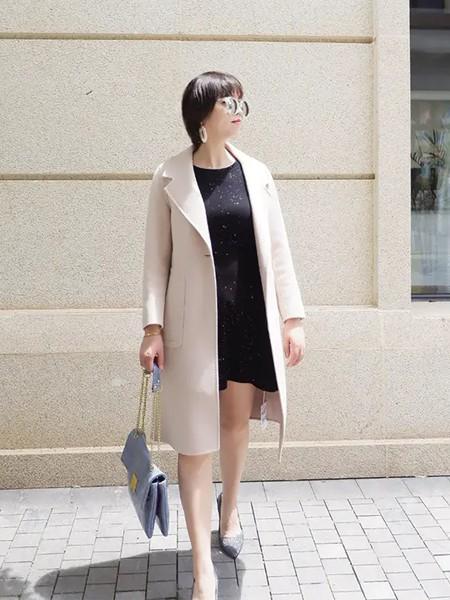 创美印象女装品牌2020秋冬杏色翻领时尚潮流毛呢大衣