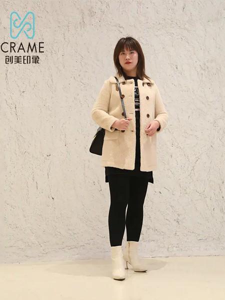 创美印象女装品牌2020秋冬杏色快时尚双排扣中长款毛呢大衣