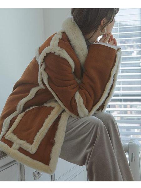 艾匹思女裝品牌2020秋冬黃棕色鹿皮絨加絨外套