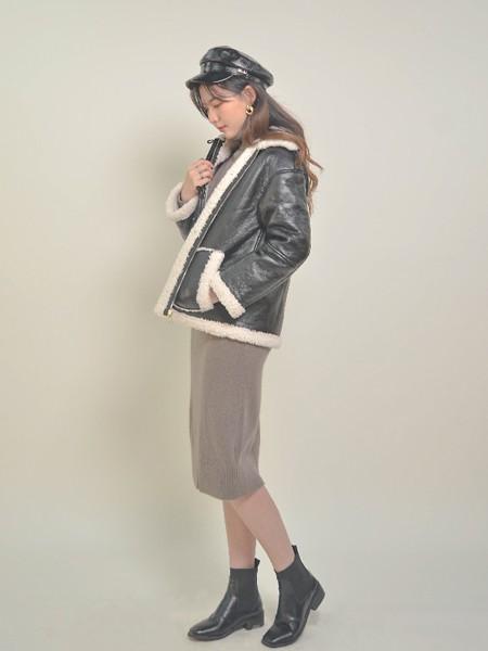 香妲儿女装品牌2020秋冬黑色加厚加绒短款皮外套
