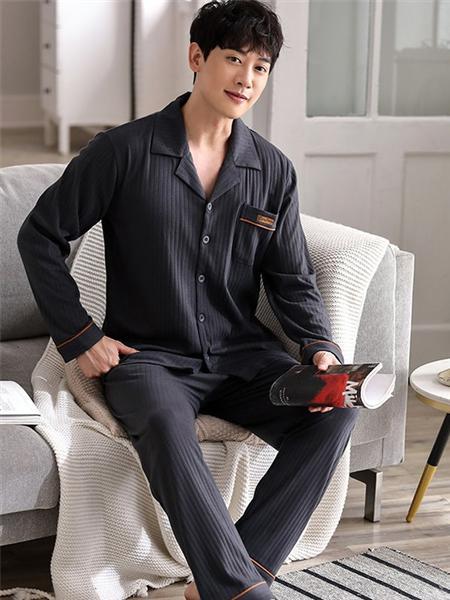 帕蘭朵內衣品牌深色條紋純棉長袖家居服