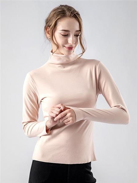 帕兰朵内衣品牌裸色高领修身打底衫