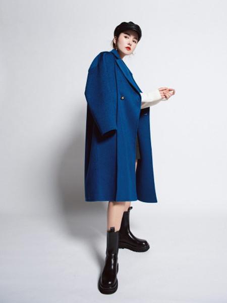 俪妍女装品牌2020秋冬宝蓝色宽松时尚长款大衣