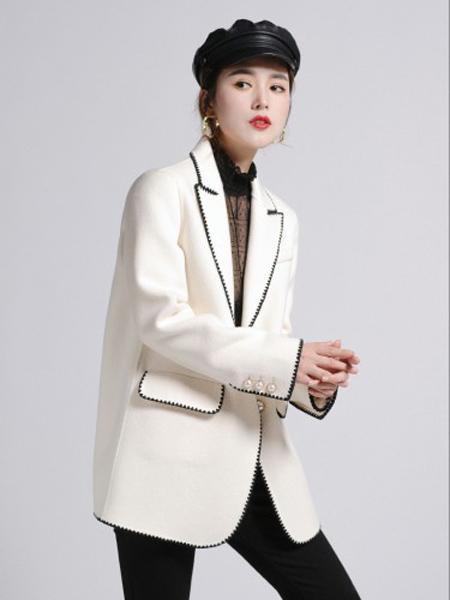 俪妍女装品牌2020秋冬白色简约OL风外套