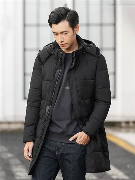 汉斯卡男装品牌2020秋冬魔术贴抽绳设计男神范羽绒服