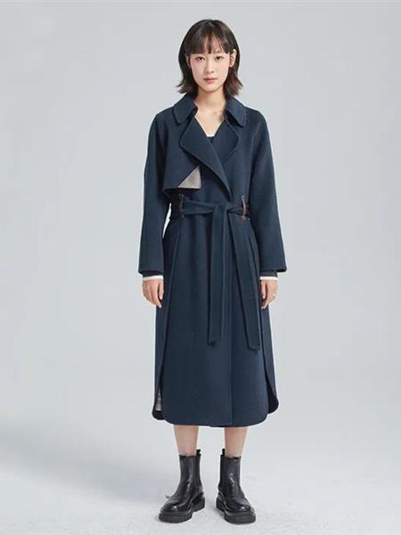 欧海一生女装品牌2020秋冬深蓝色翻领大气毛呢大衣