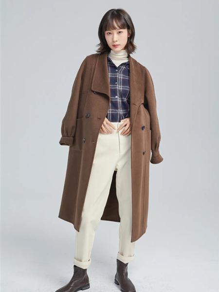 欧海一生女装品牌2020秋冬咖啡色灯笼袖长款双面呢大衣