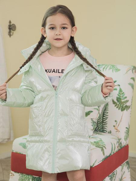 快乐精灵童装品牌2020秋冬绿色亮面修身羽绒服