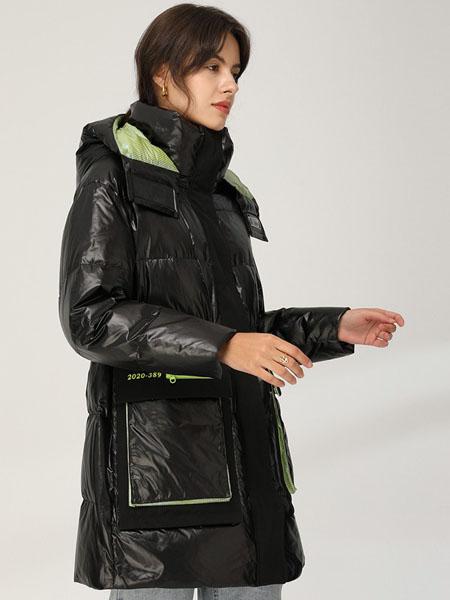 皮尔卡丹plerrecardln女装品牌2020秋冬黑色荧光绿撞色方袋羽绒服