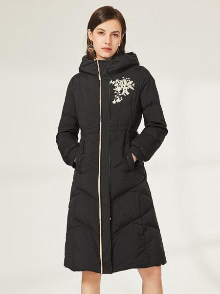 皮尔卡丹plerrecardln女装品牌2020秋冬黑色修身收腰绣花羽绒服