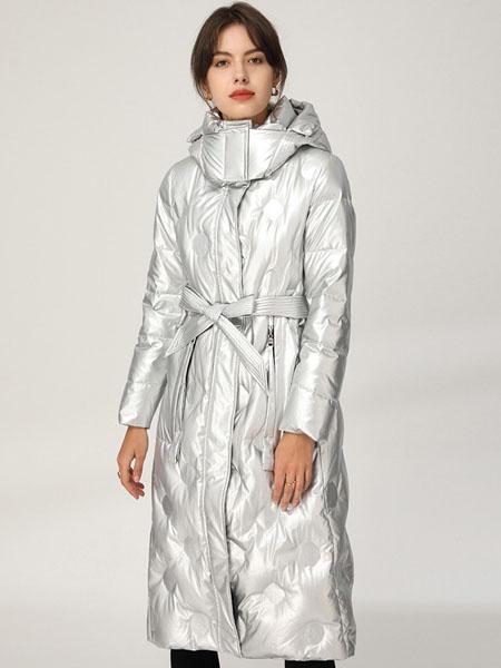 皮尔卡丹plerrecardln女装品牌2020秋冬银灰色INS极简风长款羽绒服