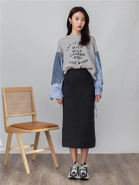 lidysoso女装品牌2020秋冬撞色牛仔拼接休闲风卫衣