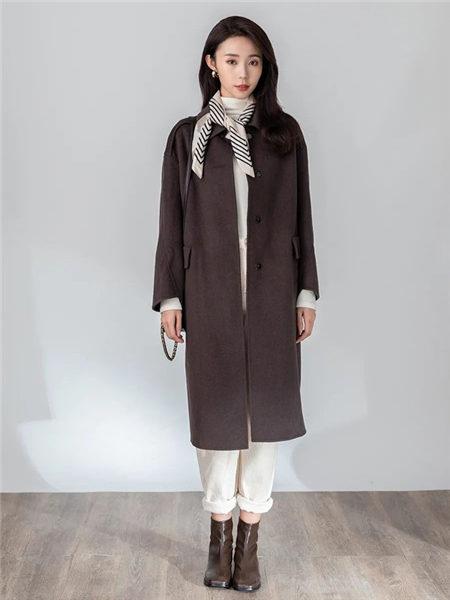 lidysoso女装品牌2020秋冬巧克力色磨毛气质女神羊绒大衣