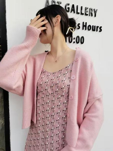 描刻(miaoke)女装品牌2020秋冬粉色时尚宽松针织开衫