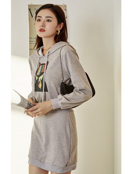 E+vonuol我的私人衣橱女装品牌2021春夏灰色卡通印花连帽卫衣裙