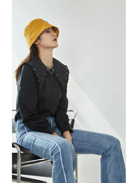 E+vonuol我的私人衣橱女装品牌2021春夏黑色大翻领设计欧系潮流衬衫