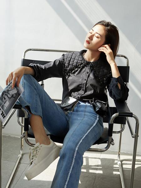 E+vonuol我的私人衣橱女装品牌2021春夏阔腿毛边九分牛仔裤