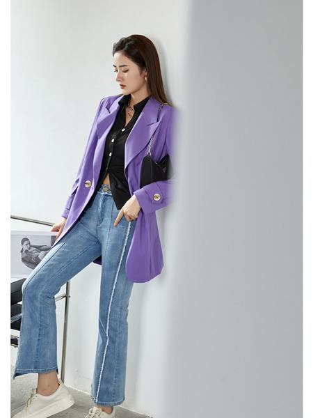 E+vonuol我的私人衣橱女装品牌2021春夏紫色优雅气质女神西服外套
