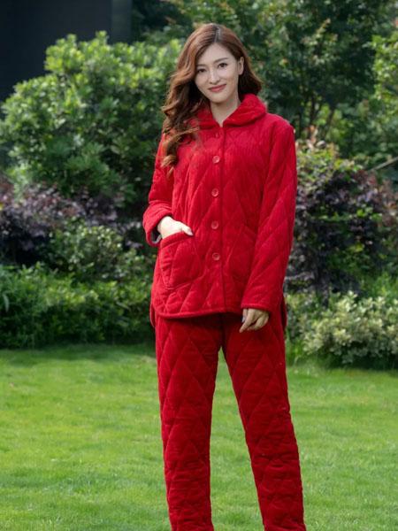欧林雅内衣品牌2020秋冬红色娃娃领保暖家居服