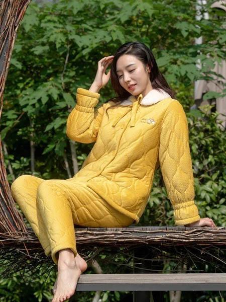 欧林雅内衣品牌2020秋冬黄色松紧喇叭袖口可爱蝴蝶结系带家居服