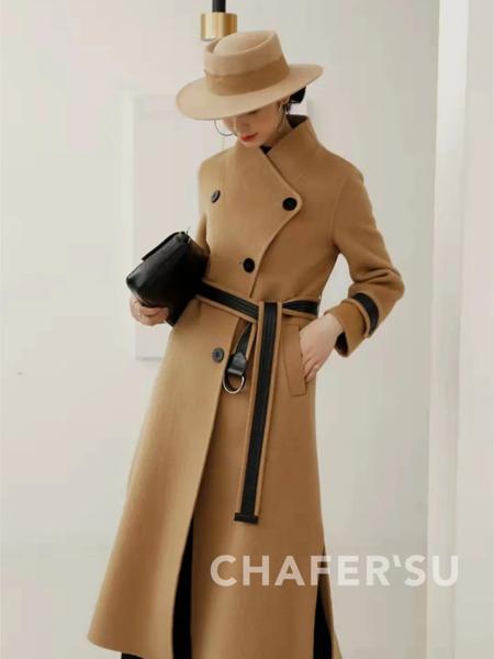 夏斐.素女装品牌2021春夏中式复古风束腰羊绒大衣