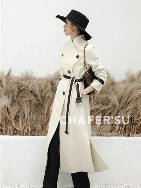 夏斐.素女装品牌2021春夏白色修身时尚气质女神范毛呢大衣