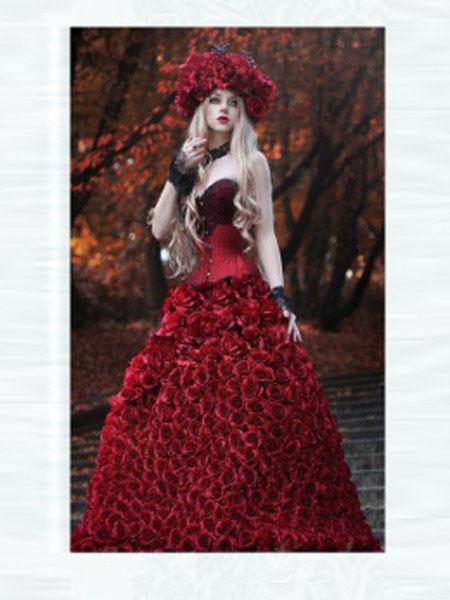 EMIT女装品牌2020秋冬复古红色法式洛丽塔风格礼服裙