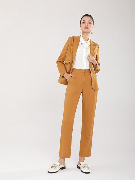 EATCH女装品牌彩38平台2021春夏姜黄色毛涤OL风西服套装