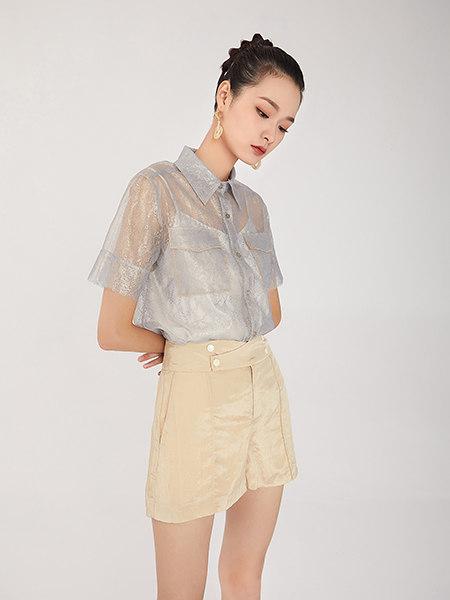 EATCH女装品牌2021春夏灰色网纱半透时尚衬衫外搭
