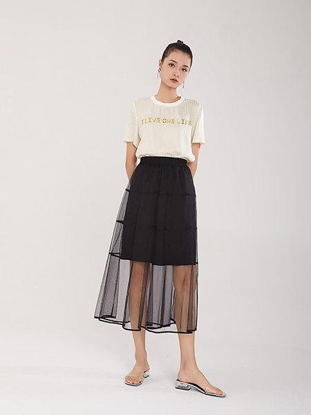 EATCH女装品牌彩38平台2021春夏黑色欧根纱双层半透半身裙