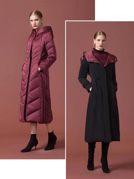 古色女装品牌2020秋冬粉色保暖羽绒服两穿黑色毛呢外套